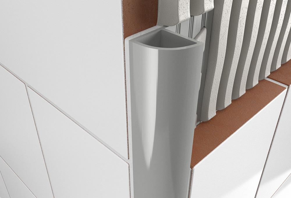 Round Edge Closed Profile – Light Grey PVC 1