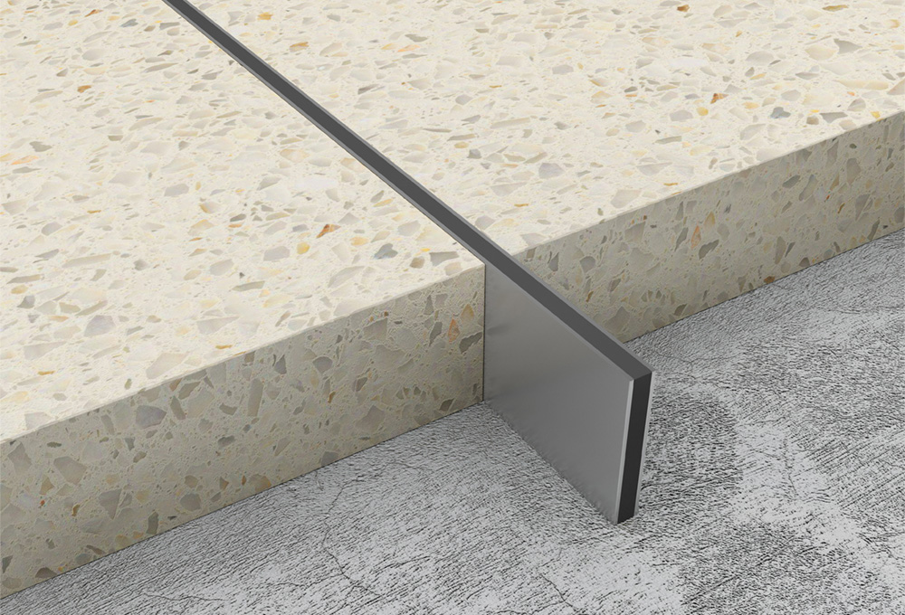 Screed joints stainless steel black infill atrim