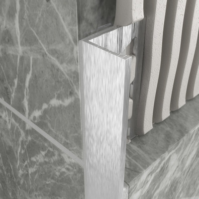 Straight Edge Profile - Brushed Chrome Aluminium 1