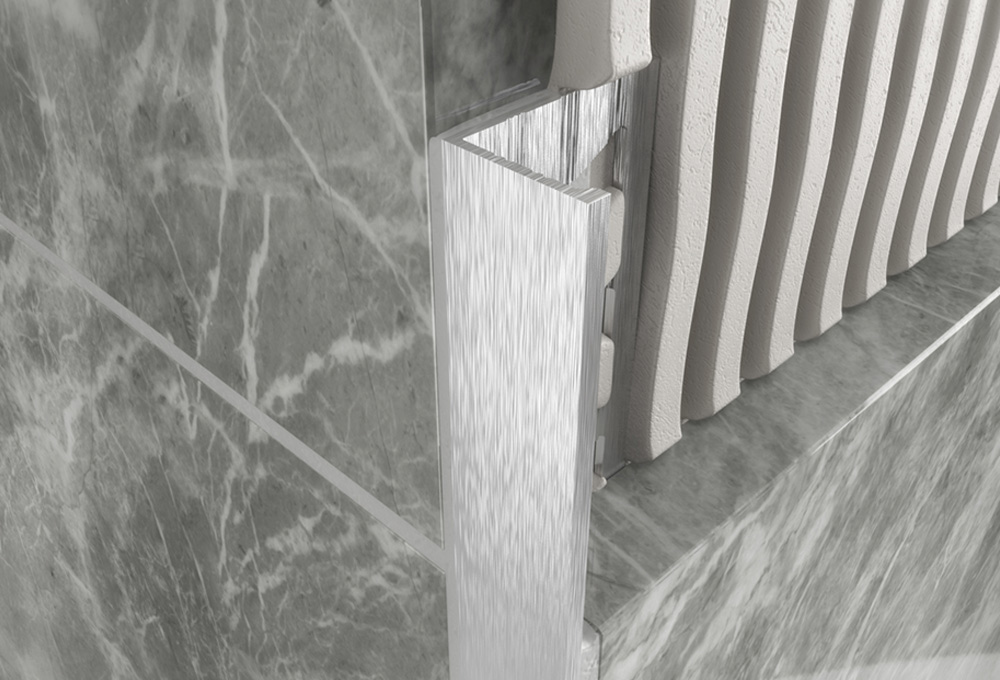 Straight Edge Profile – Brushed Chrome Aluminium 1